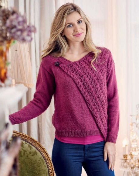 Stylish Asymmetric Cardi Free Knitting Pattern ⋆ Knitting Bee