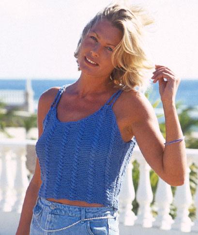 Summer Singlet Top Free Knitting Pattern ⋆ Knitting Bee