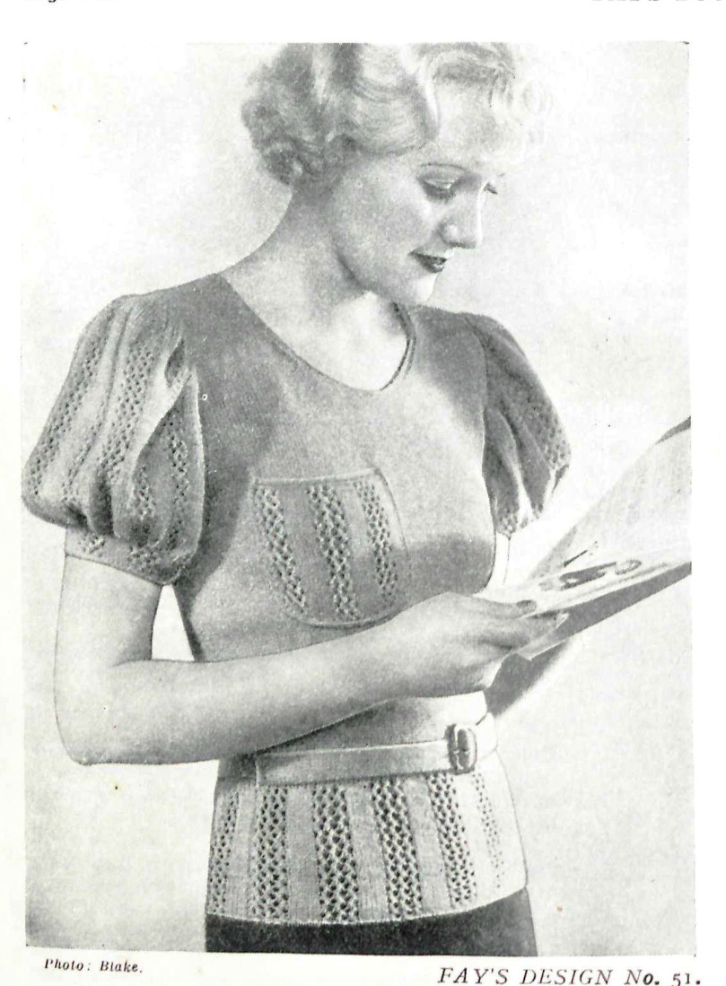 Free Vintage Knitting Patterns Tops From 1935 Fay S