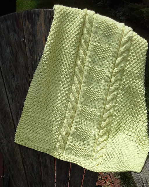 Love Heart Bulky Yarn Baby Blanket Knitting Pattern Free