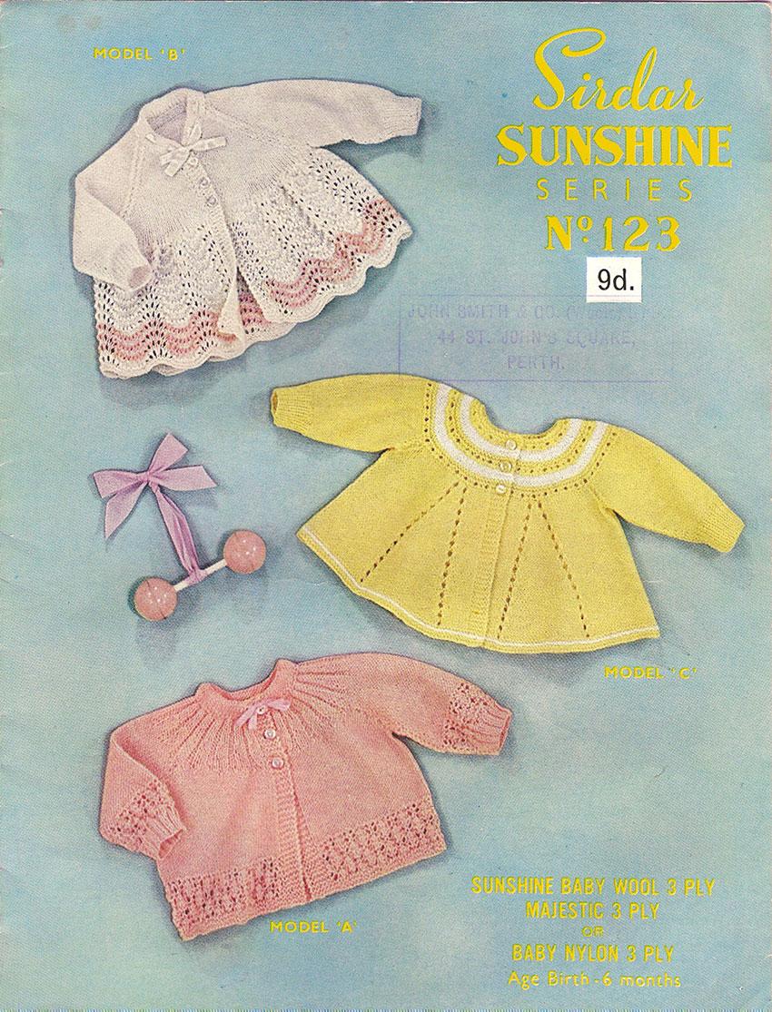 Sirdar Sunshine No 123 Matinee Coats Free Vintage Baby Knitting