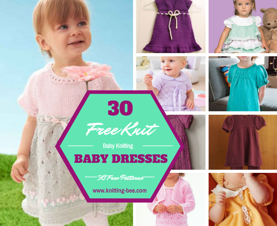 30 Free Knit Baby Dresses free patterns www.knitting-bee.com