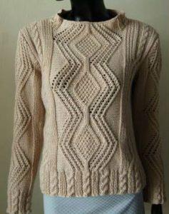 Aran Style Pullover Free Knitting Pattern