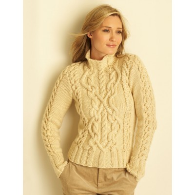 Bernat Cable Sweater for Women Free Knitting Pattern