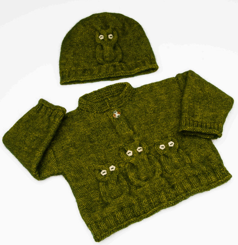 Child's knitted owl sweater and hat free pattern