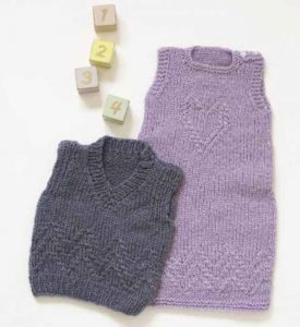 Dress and Vest Free baby Knitting Patterns