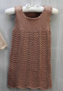 Feather and Fan Lace Baby Dress Knitting Pattern
