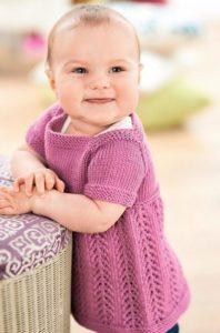Girl's knitted pinafore dress free knitting pattern