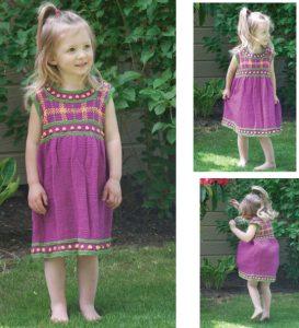 Girls' Plaid Dress free knitting pattern