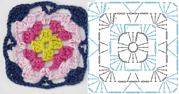 Granny Square Variation Free Crochet Pattern
