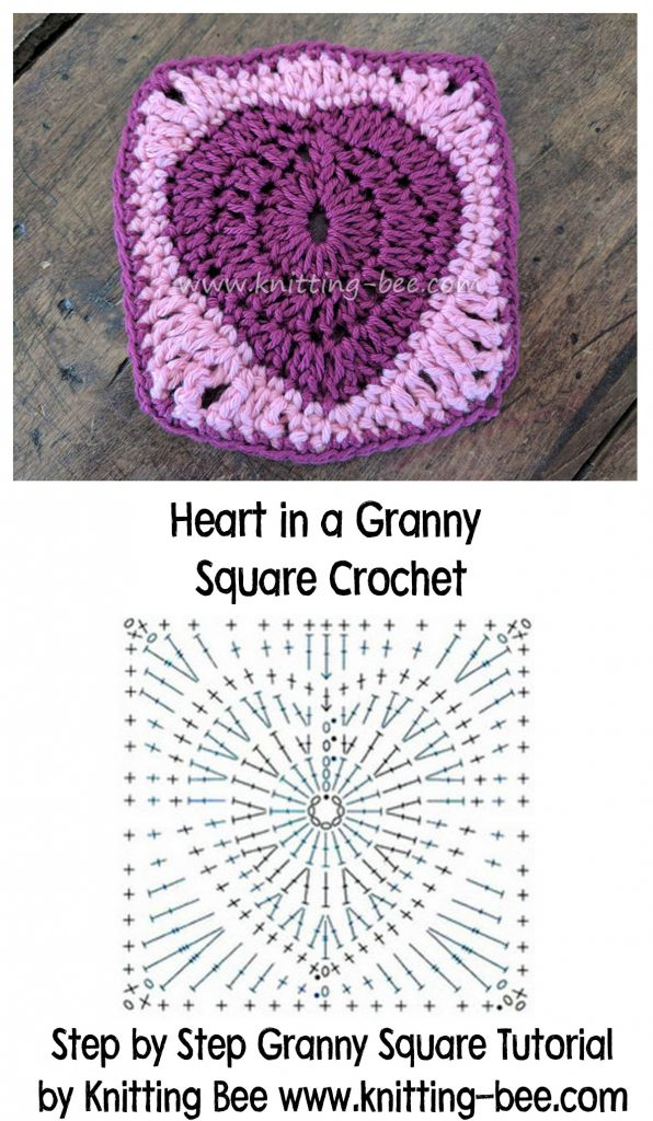 Heart in a Granny Square Crochet Free Tutorial by www.knitting-bee.com