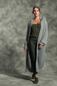 Knit an ankle-length cardigan free knitting pattern