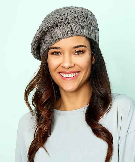 Lace Beret Free Hat Knitting Pattern