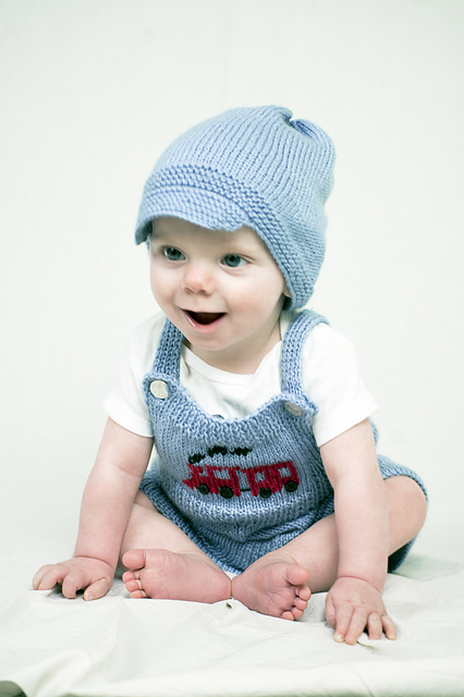 Mr. Conductor Bib Overalls set free knitting pattern