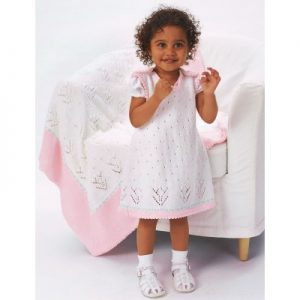 Patons Tulip Lace Dress with Blanket
