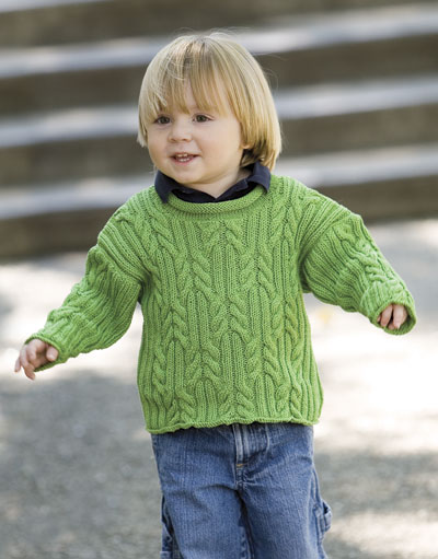 Provence Child's Cabled Pullover Free Knitting Pattern