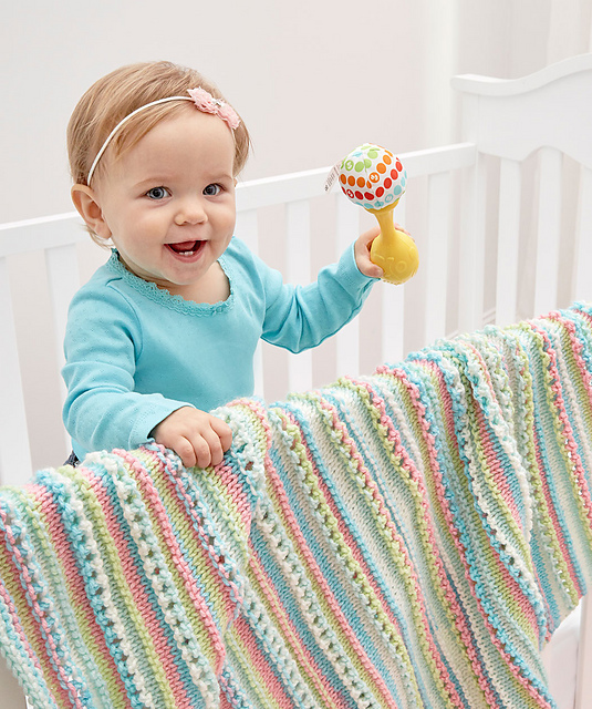Self-Striping Baby Blanket Free Knitting Pattern