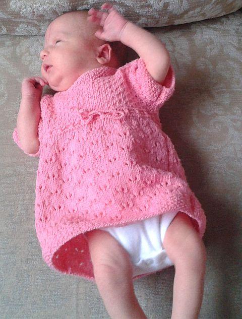 Knitting Dress Baby : Sweet lace baby dress free knitting pattern bee