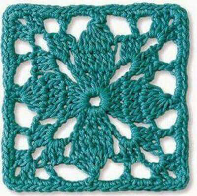 Teal Lace Granny Square Crochet Pattern