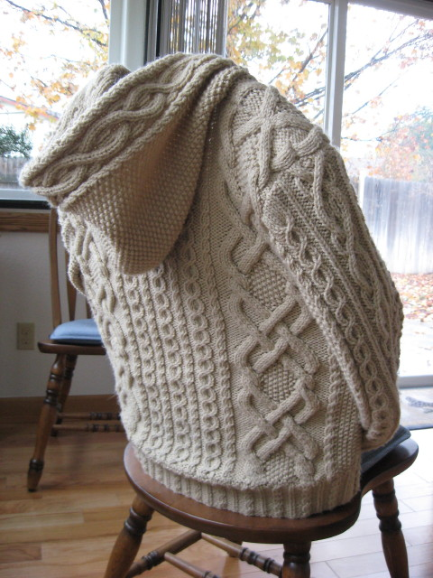 Whitney Double-X Hooded Cardigan Free Aran Knitting Pattern