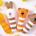4 Animal Baby Rattles free knitting pattern. Free baby knit patterns.