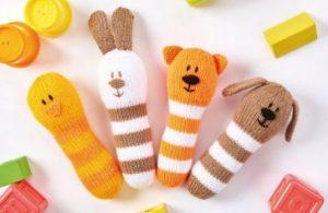 4 Animal Baby Rattles free knitting pattern. Free baby knit patterns.
