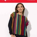 Darling Rainbow - Poncho Free Knit Pattern Download. Free poncho knitting pattern. Striped poncho, easy knit pattern.