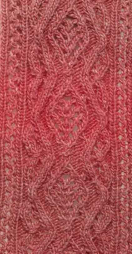 Diamond lace and cable free knitting stitch