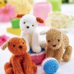 Easy Puppy Trio Free Toy Knitting Pattern. Dog knitting pattern.
