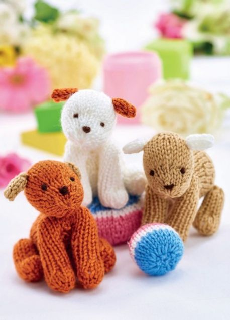 Easy Puppy Trio Free Toy Knitting Pattern Knitting Bee