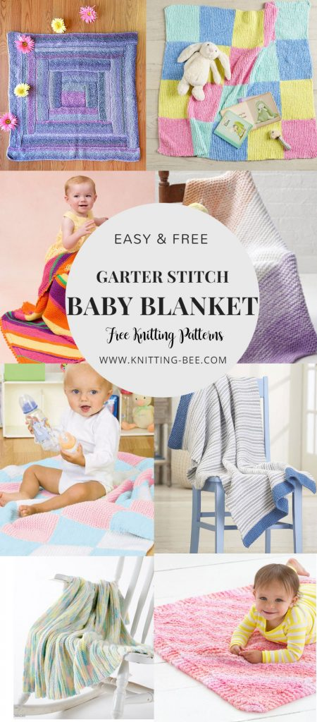 Easy and Free Garter Stitch Baby Blanket Knitting Patterns. Click on post for more! www.knitting-bee.com