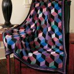 Knit Tumbling Blocks Afghan Free Knitting Pattern
