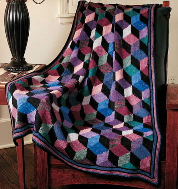 Knit Tumbling Blocks Afghan Free Knitting Pattern