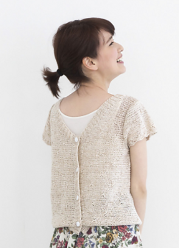 Natural Knit Short Sleeved Cardigan Free Knitting Pattern. Modern knitting pattern.