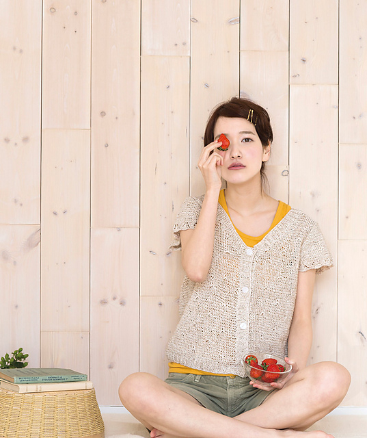 Natural Knit Short Sleeved Cardigan Free Knitting Pattern. Modern knitting pattern.