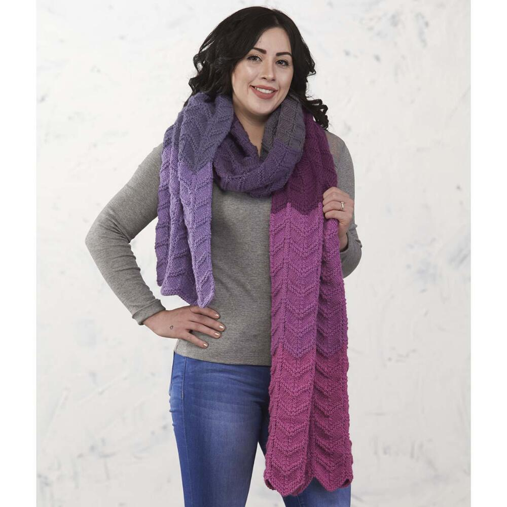 Purple Haze Super Scarf Free Download Knitting Pattern. Free ripple stitch scarf knit pattern . Ripple scarf knitting pattern. Ombre scarf.
