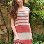 Striped Knit Dress Download - Free Knitting Pattern. Women's dress knit, free knit patterns.. Summer knitting dress.