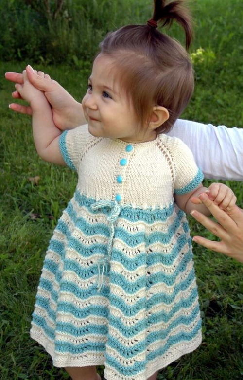 Sunday Best Baby Dress Free Knitting Pattern