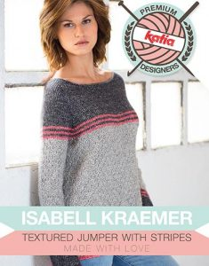 Textured Jumper With Stripes Free Knitting Pattern Download. Free modern knitting pattern for a sweater for women.