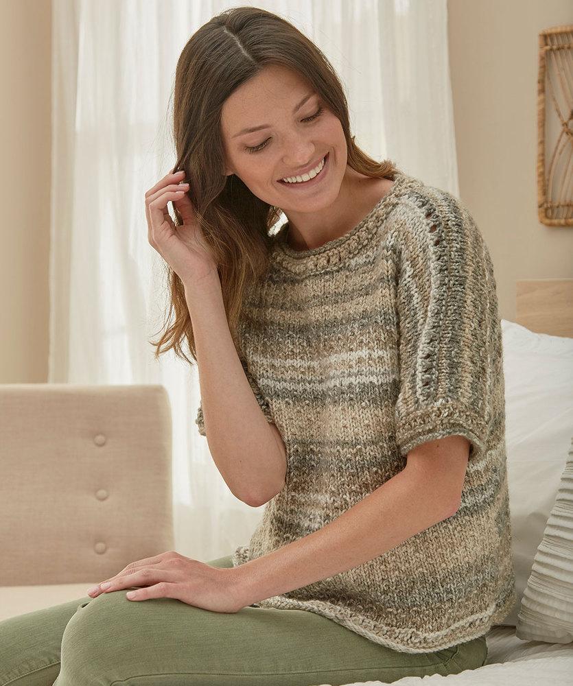 Eyelet Banded Sweater Free Knitting Pattern
