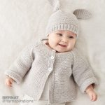 Bernat Knit Baby Jacket Set Free Pattern