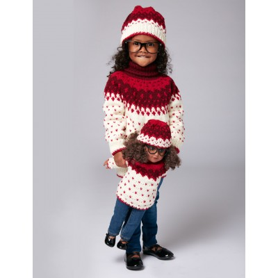 Bernat Nordic Duo Sweater and Hat for Girl and Doll Free Knitting Pattern