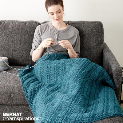 Bernat Reversible Knit Lap Blanket Free Pattern