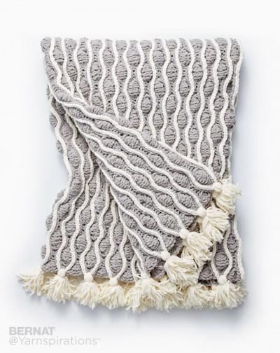 Bernat Trellis Amp Tassels Knit Afghan Free Pattern