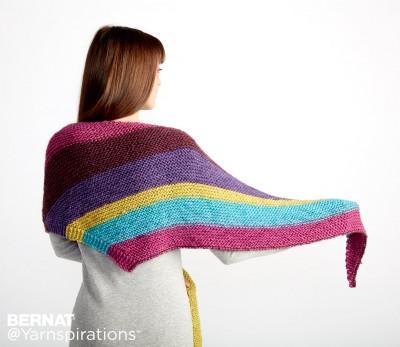 Bernat Triangle Shawl Free Easy Knitting Pattern Knitting Bee