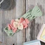Free baby headband knitting pattern. Blushing Blossoms Headband Free Download Knitting Pattern