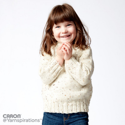 Caron Child's Knit Crew Neck Pullover Free Knitting Pattern