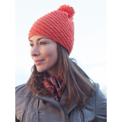 Caron Diagonal Stitch Pompom Hat Free Knitting Pattern