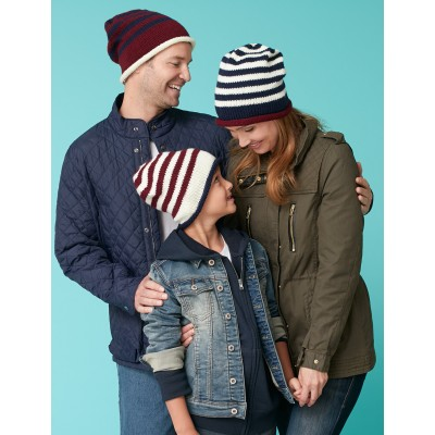 Caron Family Striped Beanies Free Knitting Pattern