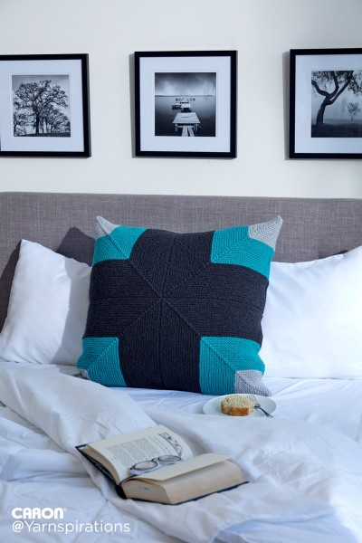Caron Mighty Mitered Knit Pillow Free Pattern